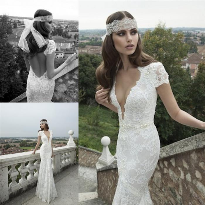 Ssj 2015 Berta Beach Short Sleeve Wedding Dress V Neck White Lace ...