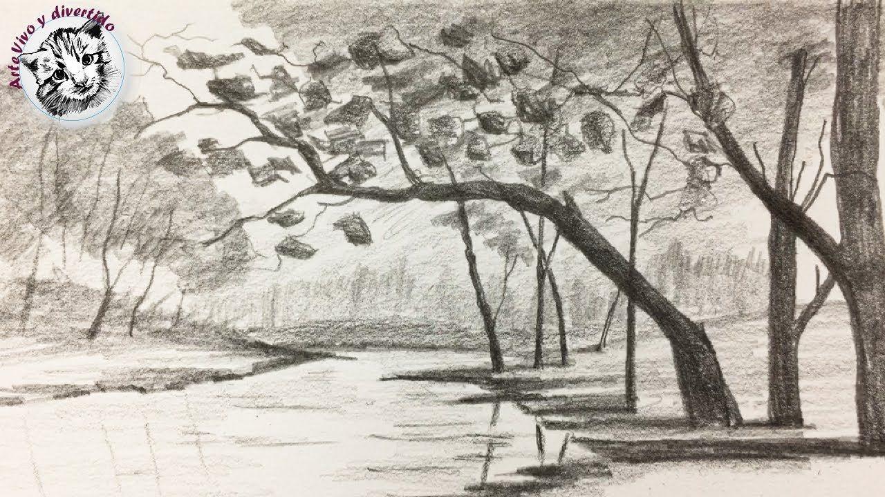 Como Dibujar Un Paisaje Con Lapiz Muy Facil Para Principiantes Paisajes Dibujos Paisaje A Lapiz Como Dibujar