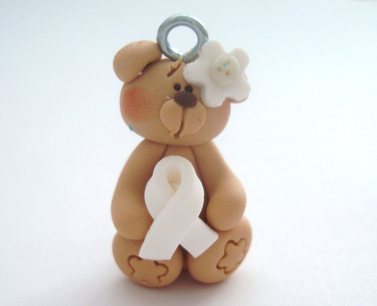 Bear with White Ribbon Polymer Clay Charm Bead,