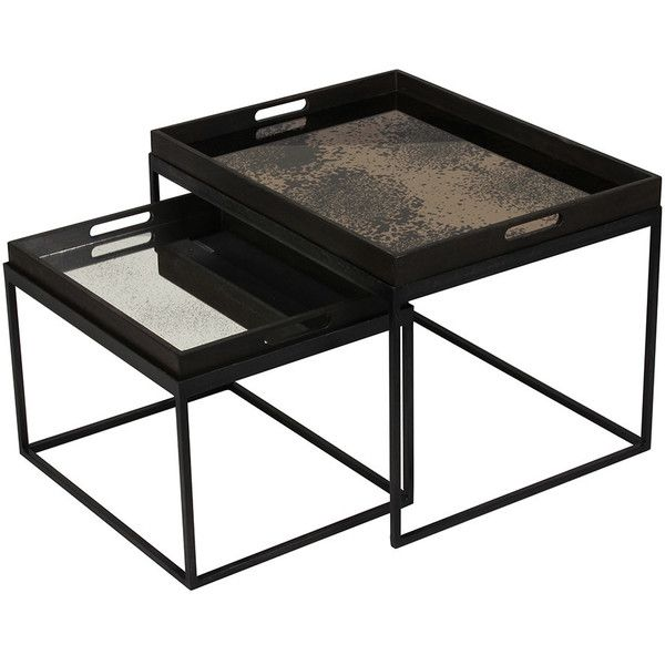 Notre Monde Rectangular Nesting Tray Table Set ($395) ? liked on Polyvore featuring home furniture tables black nesting tables black tray tablu2026  sc 1 st  Pinterest & Notre Monde Rectangular Nesting Tray Table Set ($395) ? liked on ...