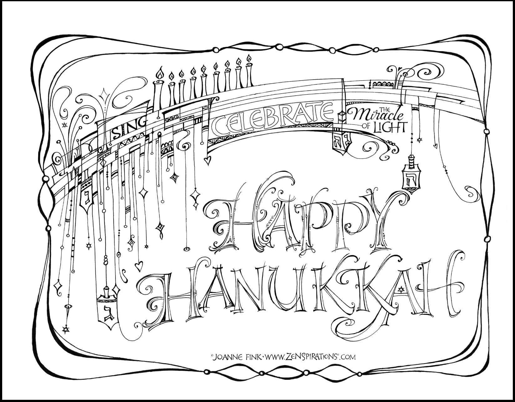 Zenspirations Blog Just Believe Free Coloring Pages Coloring Pages Hanukkah Cards [ 1286 x 1646 Pixel ]