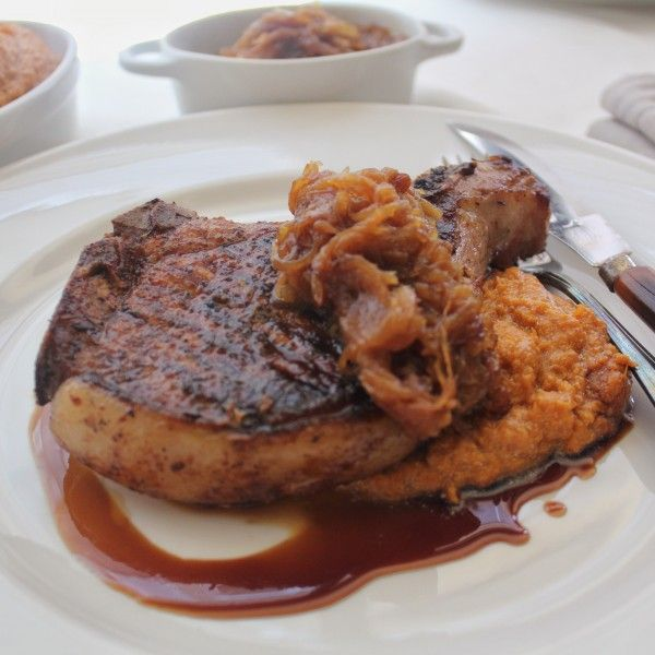 Root Beer Glazed Pork Chops With Bourbon Mashed Sweet