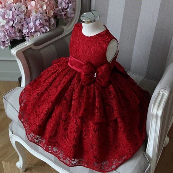 8bf3f99760c2 Red Lace Vintage Dress for Flower Girls