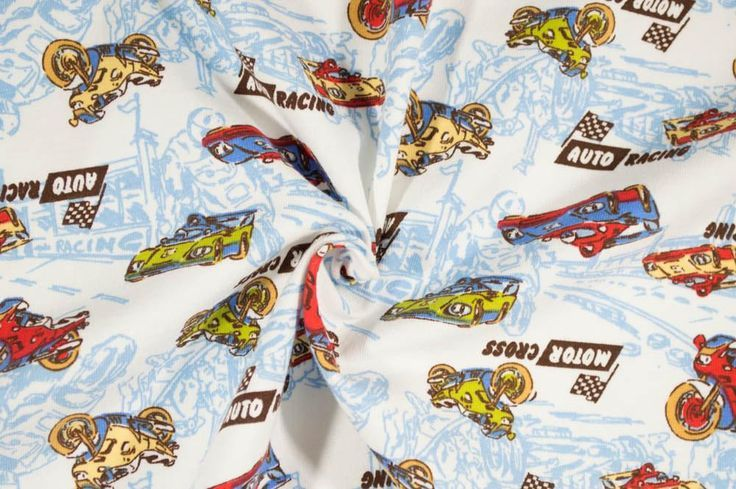 Transportation - Autocross Race Cars Cotton Spandex Knit Fabric