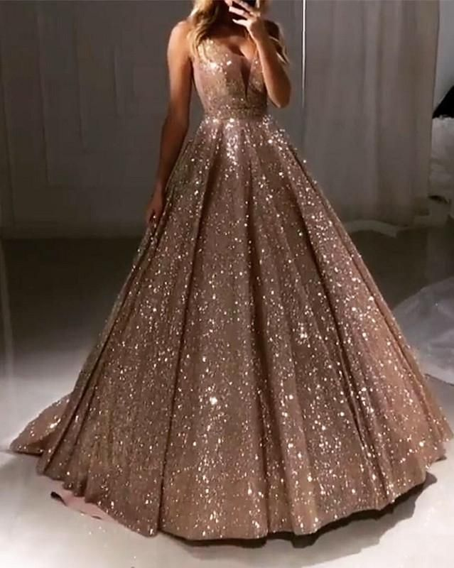 Luxurious Sequin V-neck Ball Gowns Prom Dresses 2019 -   19 dress Quinceanera gold ideas