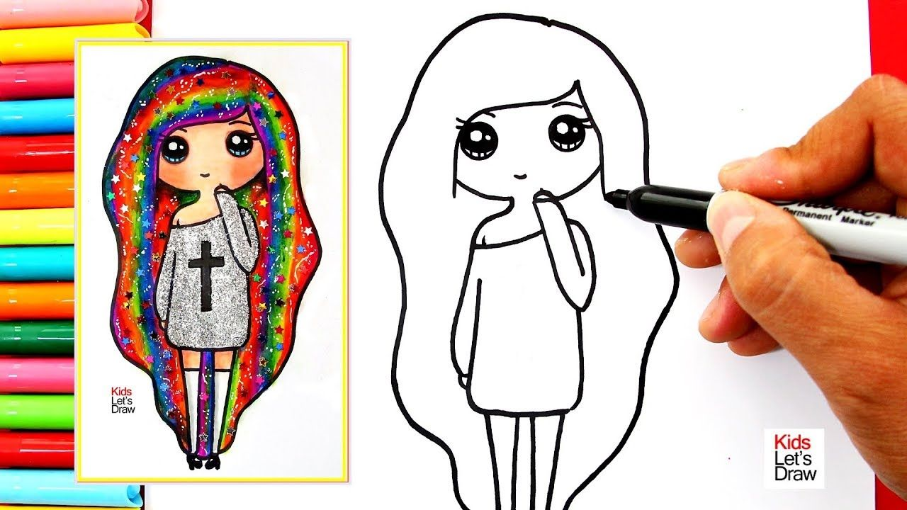 Como Dibujar Y Colorear Una Chica Tumblr Arcoiris How To Draw A