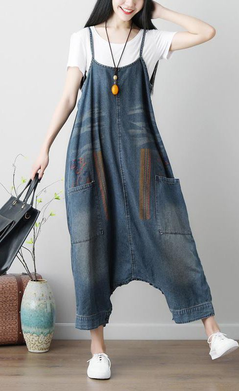 Denim Blue Women Casual Loose Jumpsuit #casualjumpsuit