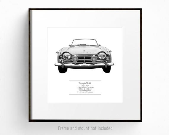Classic Car Print of Triumph TR4A, Black and White Vintage Car Art, Large Square Wall Art