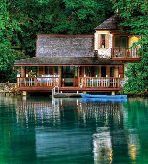 Lakeside cabin with watery balconies and porches