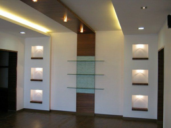 Faux plafond moderne comme l ment d coratif de l 39 int rieur ceiling drywall and tv units - Lumiere faux plafond ...