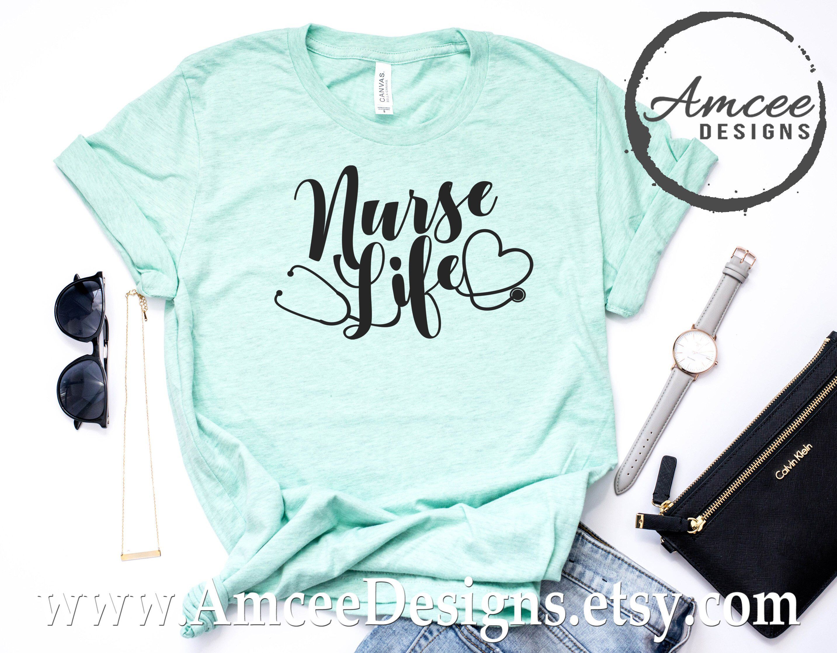 0a26877c8 Excited to share this item from my #etsy shop: Nurse Life Stethoscope Heart  Tee / Funny Cute Nursing T-Shirt / Boss Gift / Gifts for Mom /Relaxed Fit/  ...