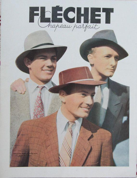 French men hats Ad 1950 vintage men s hats this by DiversCites ... 048bec10d39