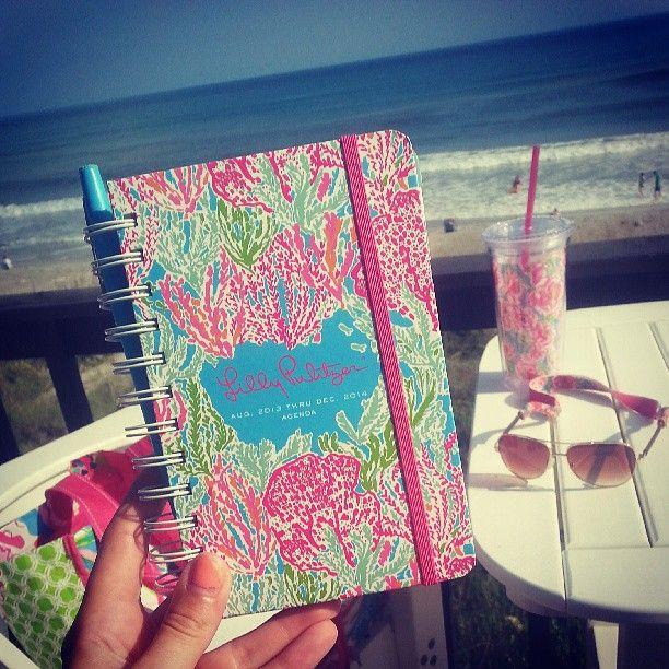 #lillyagenda via @christinerhodess | Planning out junior year on the beach :)