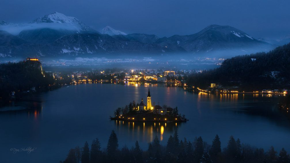 Panoramic View Of The Town Of Bled Slovenia At Winter Night