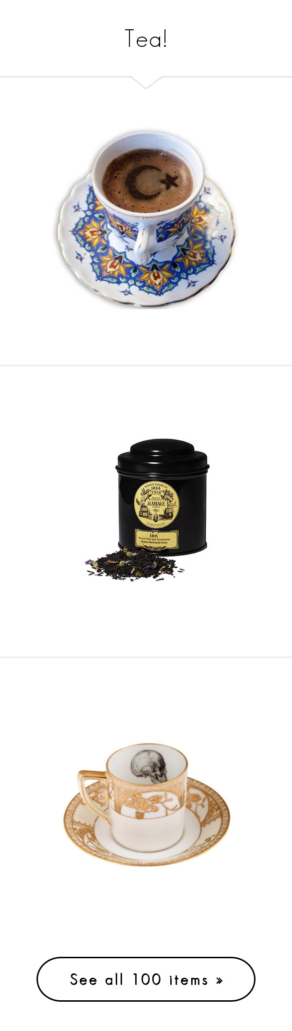 """""""Tea!"""" by morbid-octobur ❤ liked on Polyvore featuring coffee, fillers, food, drinks, tea, phrase, quotes, saying, text and food and drink"""