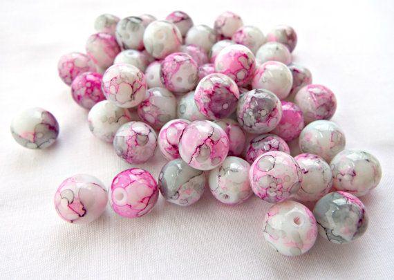 50 Pink Glass Beads 10mm Drawbench Beads Round by GlitteramaCrafts