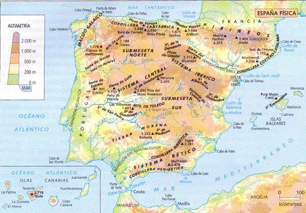 mapa fisico da peninsula iberica Mapa físico de la Península Ibérica | 01. España: situación  mapa fisico da peninsula iberica