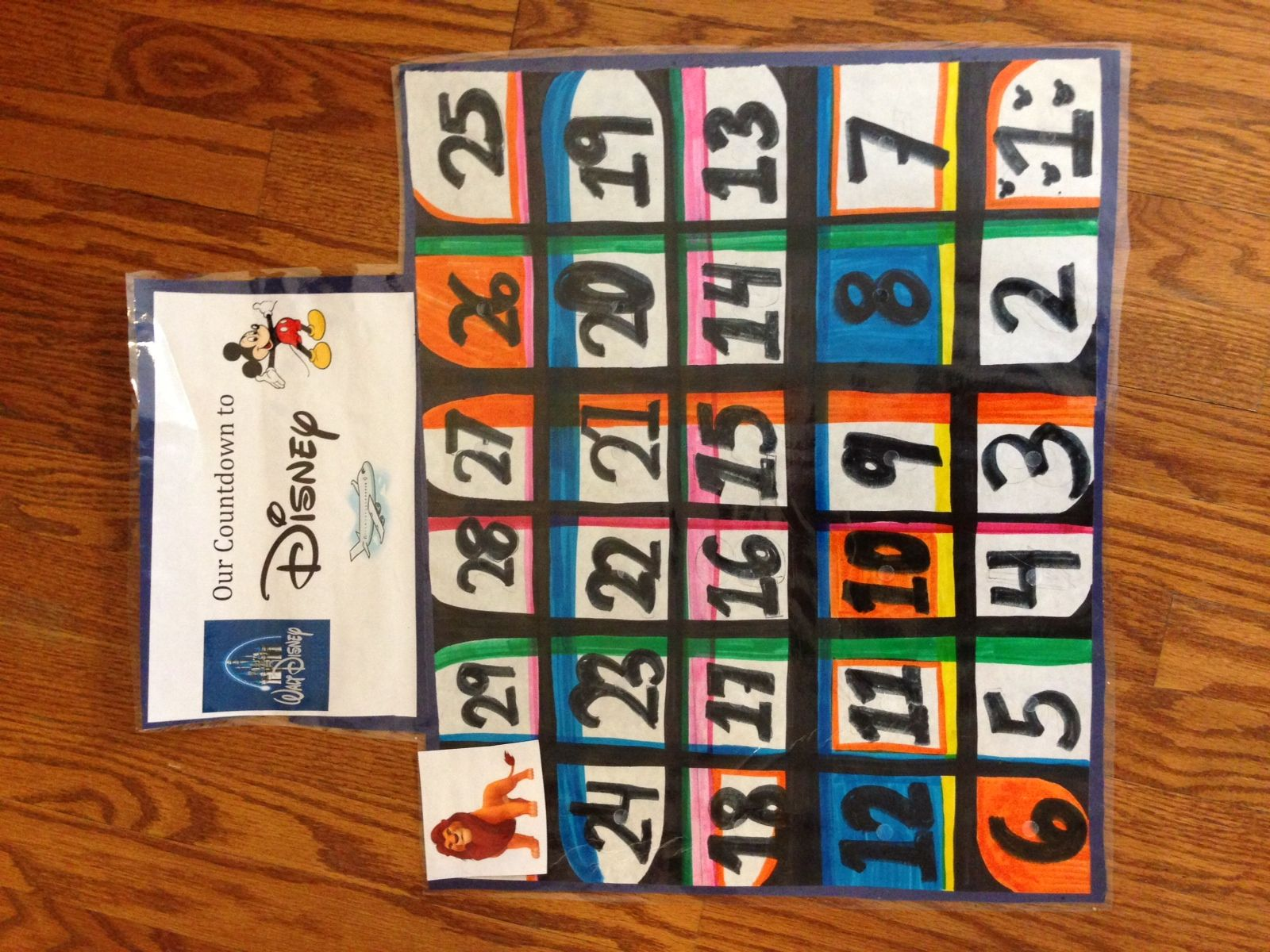 Disney Countdown Calendar!  I made a 30 day countdown calendar where my son will pick a character/places we will see when we go there!  The calendar and cards were laminated and have Velcro so they can attach.  Looking forward to our trip!