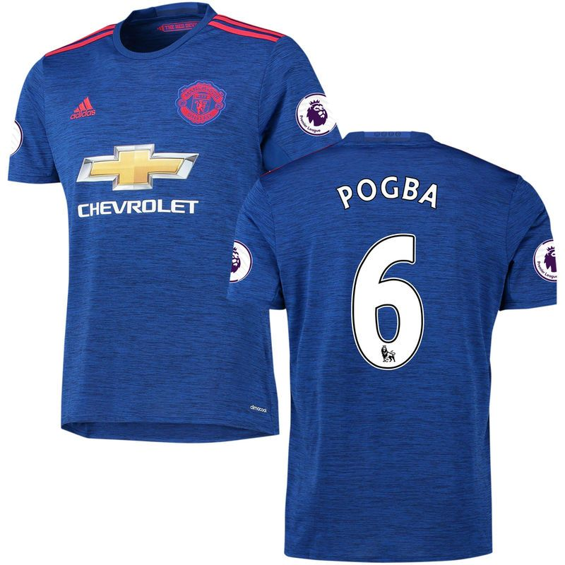 Paul Pogba Manchester United adidas 2016/17 Away Replica Player Jersey - Heathered Blue