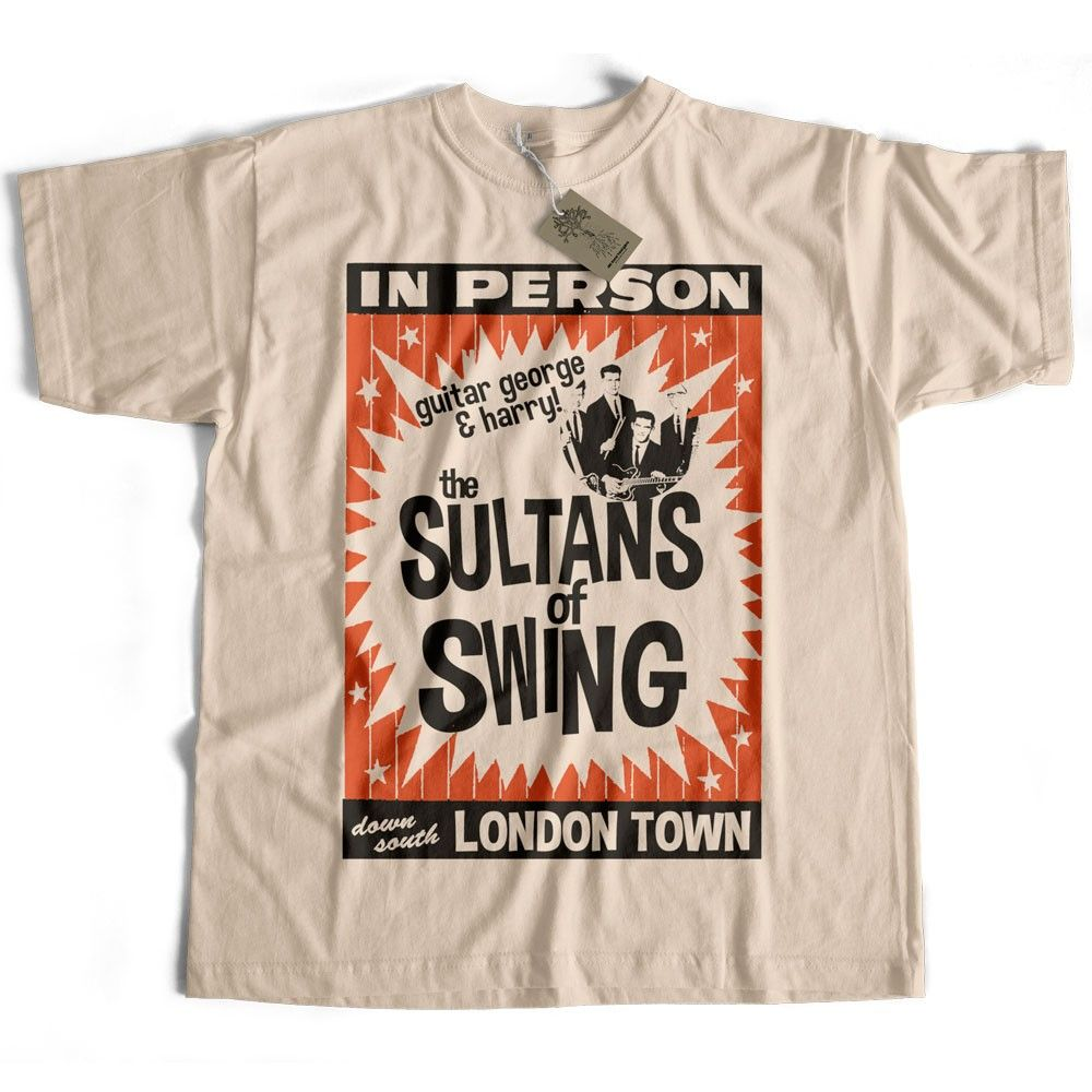 Inspired by Dire Straits T shirt - Sultans Of Swing poster from Old Skool  Hooligans rock T shirts ecb5ee39af