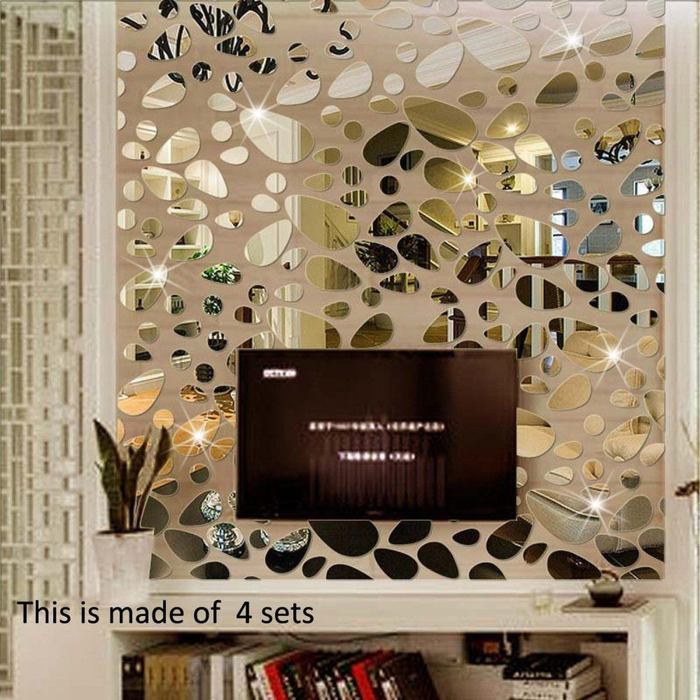 18 Pcs Mirror Decal Wall Sticker Diy Removable Art Mural Home Room