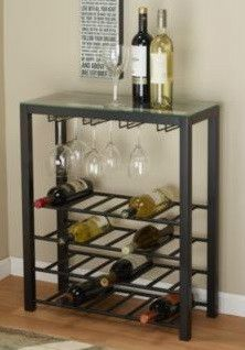 Black Metal Wine Bar Cart Glass Top Beverage Table With 4 Shelf
