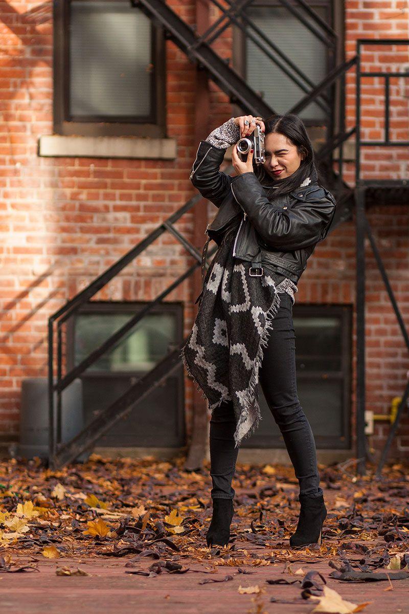 leather biker jacket, fall layering, blanket scarf