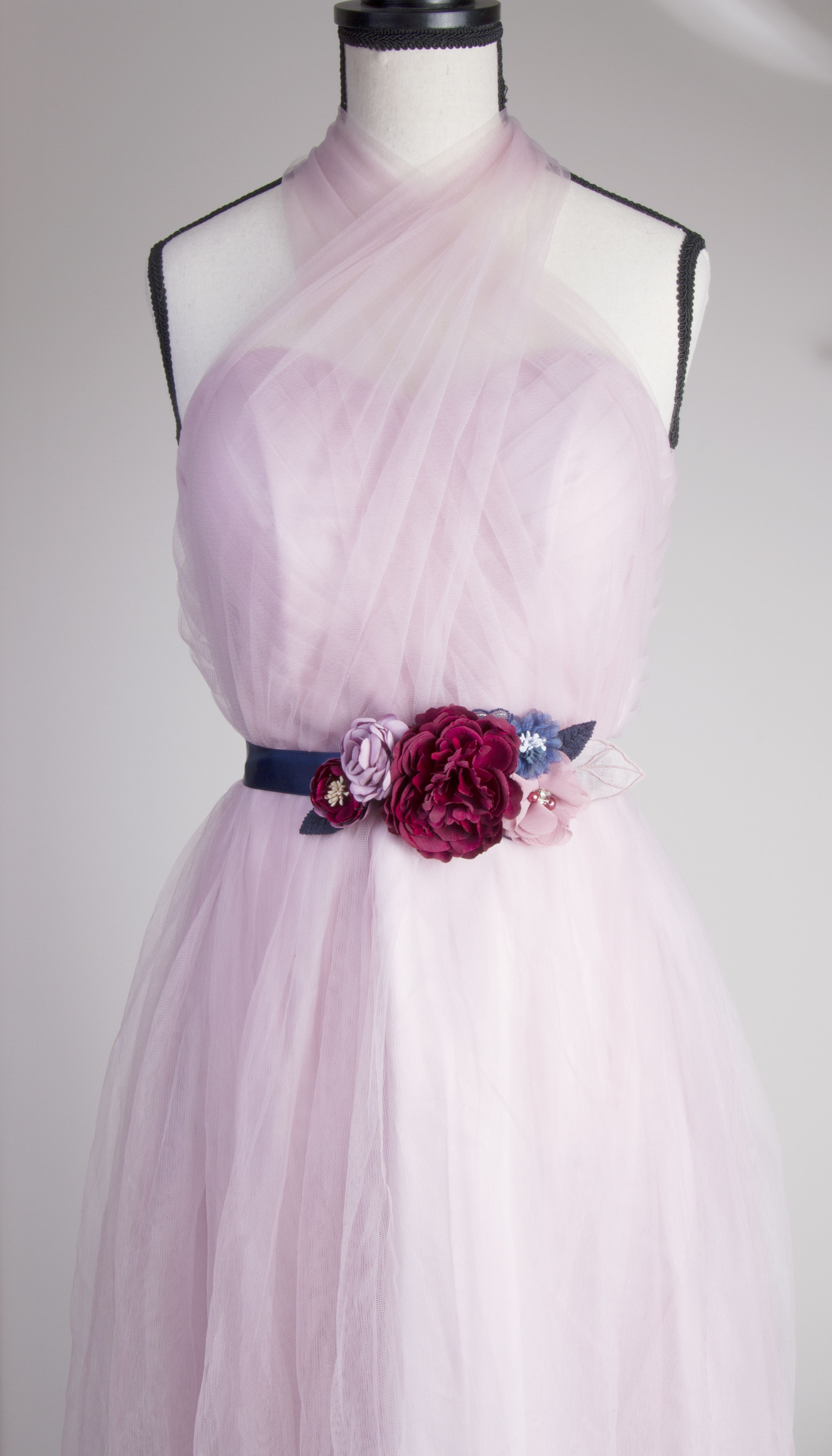 Navy Blue Burgundy Marsala Pink Wedding Bridal Sash Belt