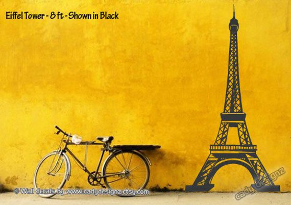 Vinyl Paris Eiffel Tower Vinyl Wall Decal Sticker French Theme Decor ...