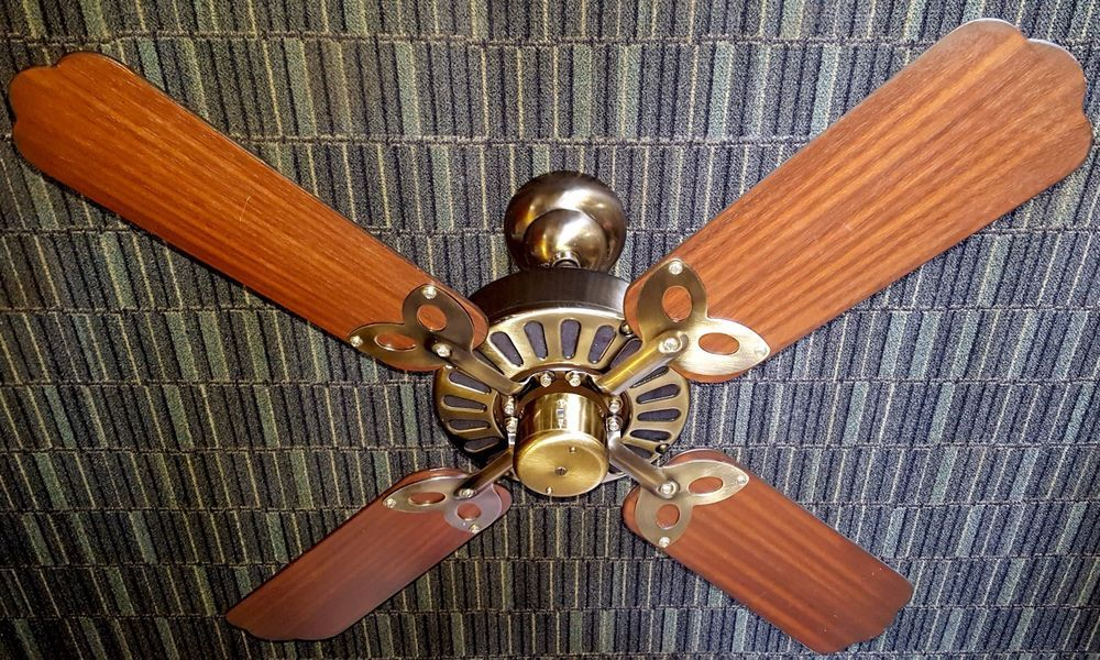 Smc vintage ceiling fan model a42 vintage electric fans shell smc vintage ceiling fan model a42 antique brass wood blades 1980s mozeypictures Image collections