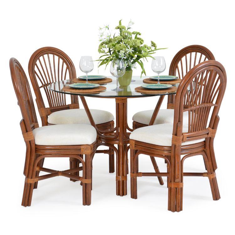 Islamorada Rattan 5 Piece Dining Set Side Chairs Pecan Glaze Leaders Casual Furniture Dining Room Furniture Sets Furniture Rattan Furniture