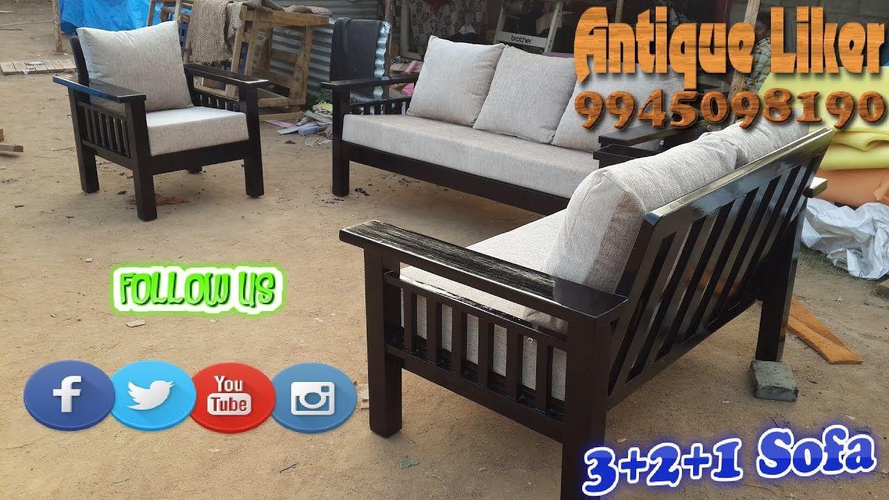 Rubber Wood 3 2 1 Woodies Sofa Set With 6 Inche Cushion Seats Furniture Sofa Set Designs Sofa