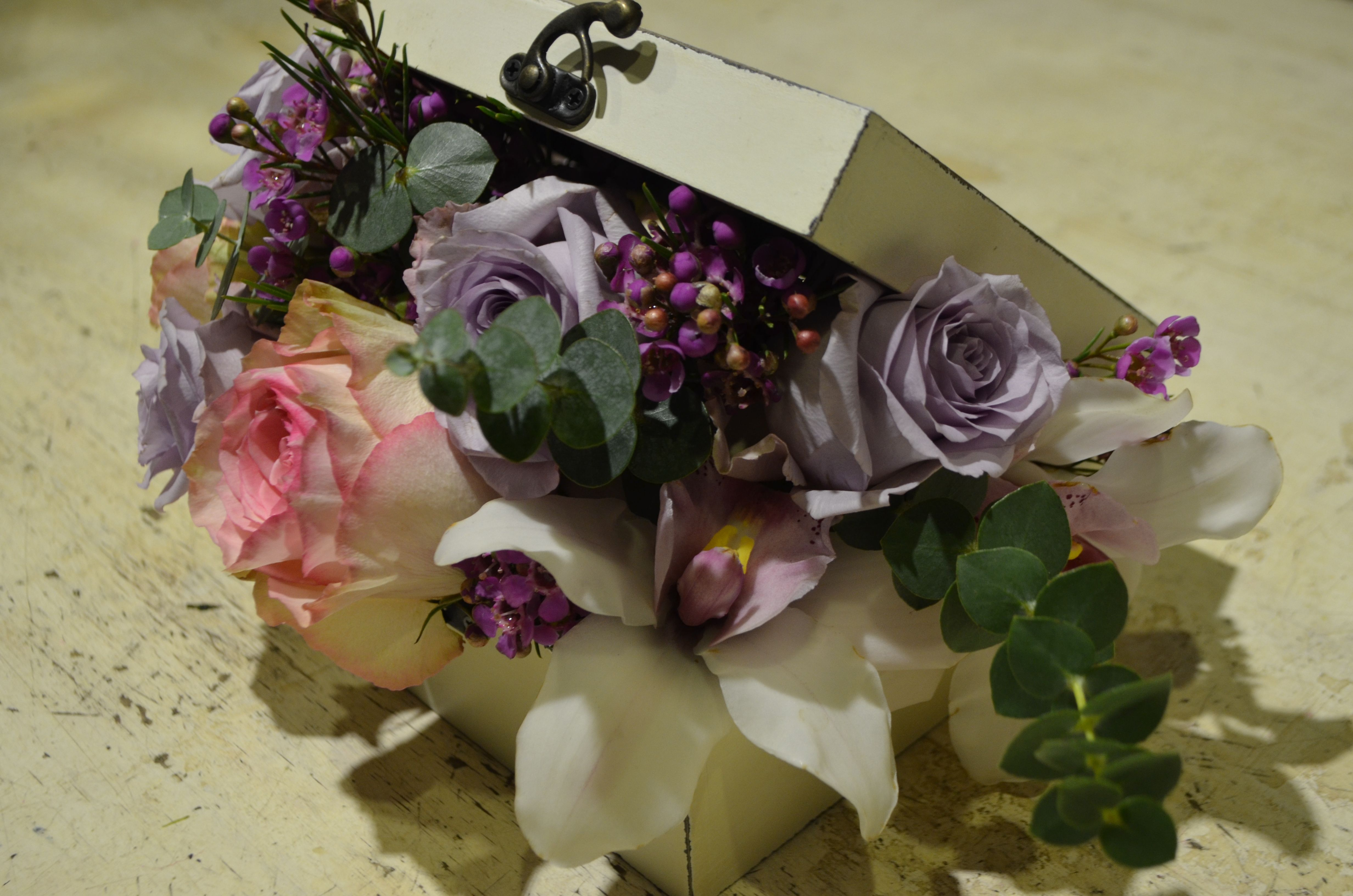 Floral Arrangement Made In Printed Jewelry Box,With Esperance Roses,Ocean Song