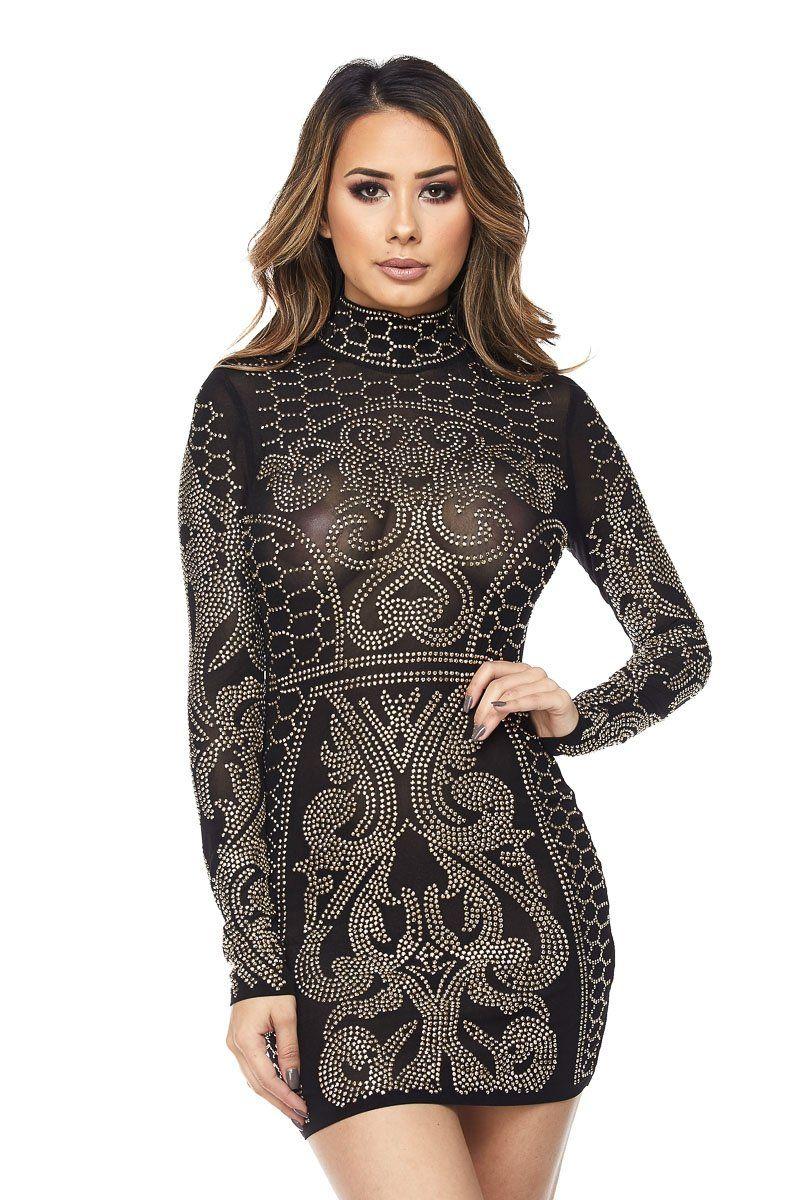 Black Mock Neck Sequin Bodycon Dress