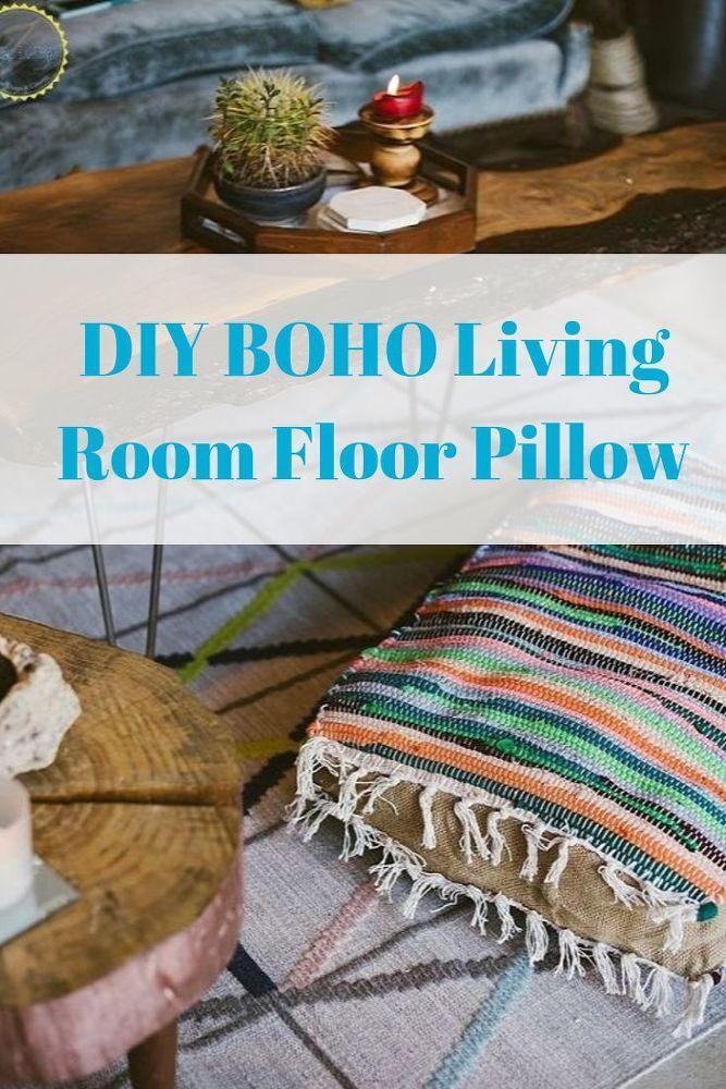 Diy Boho Floor Pillow Using Dollar Store Rugs With Images Boho Floor Pillows Diy Pillows
