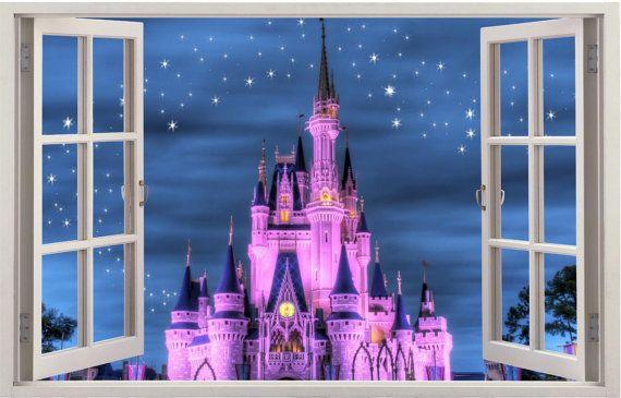 Disney Castle Cinderella 3d Window Effect By Wallvinylconnection