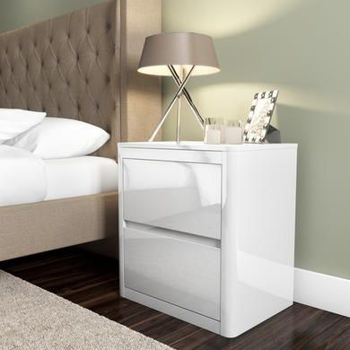 Lexi White High Gloss 2 Drawer Bedside Table White Bedside Table White Gloss Bedroom Furniture White Side Table Bedroom
