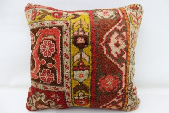 16x16 Rug Pillow, Oriental Pillow, Embroidered Pillow, Throw Pillow, Red Pillow, Home Design Pillow,