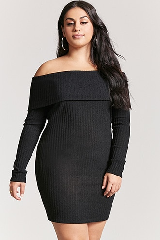 d48a05459c8 Plus Size Off-the-Shoulder Sweater Dress