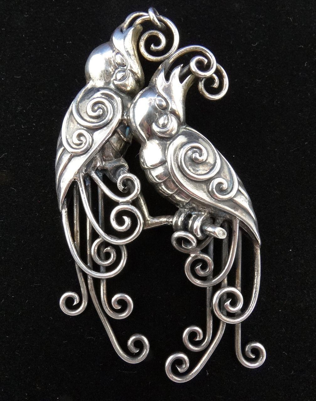 Vintage Mexican Silver Double Quetzal Bird Repousse Pin Silver Jewelry Design Mexican Silver Jewelry Vintage Silver Jewelry