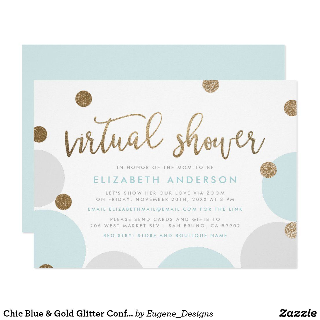 Chic Blue Gold Glitter Confetti Virtual Shower Invitation Zazzle Com In 2020 Virtual Shower Virtual Baby Shower Invitation Virtual Baby Shower Ideas