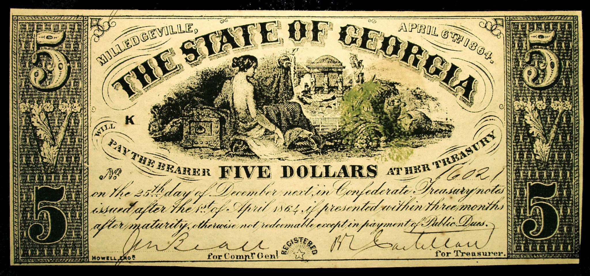5 Georgia Confederate Civil War Note Dated April 6