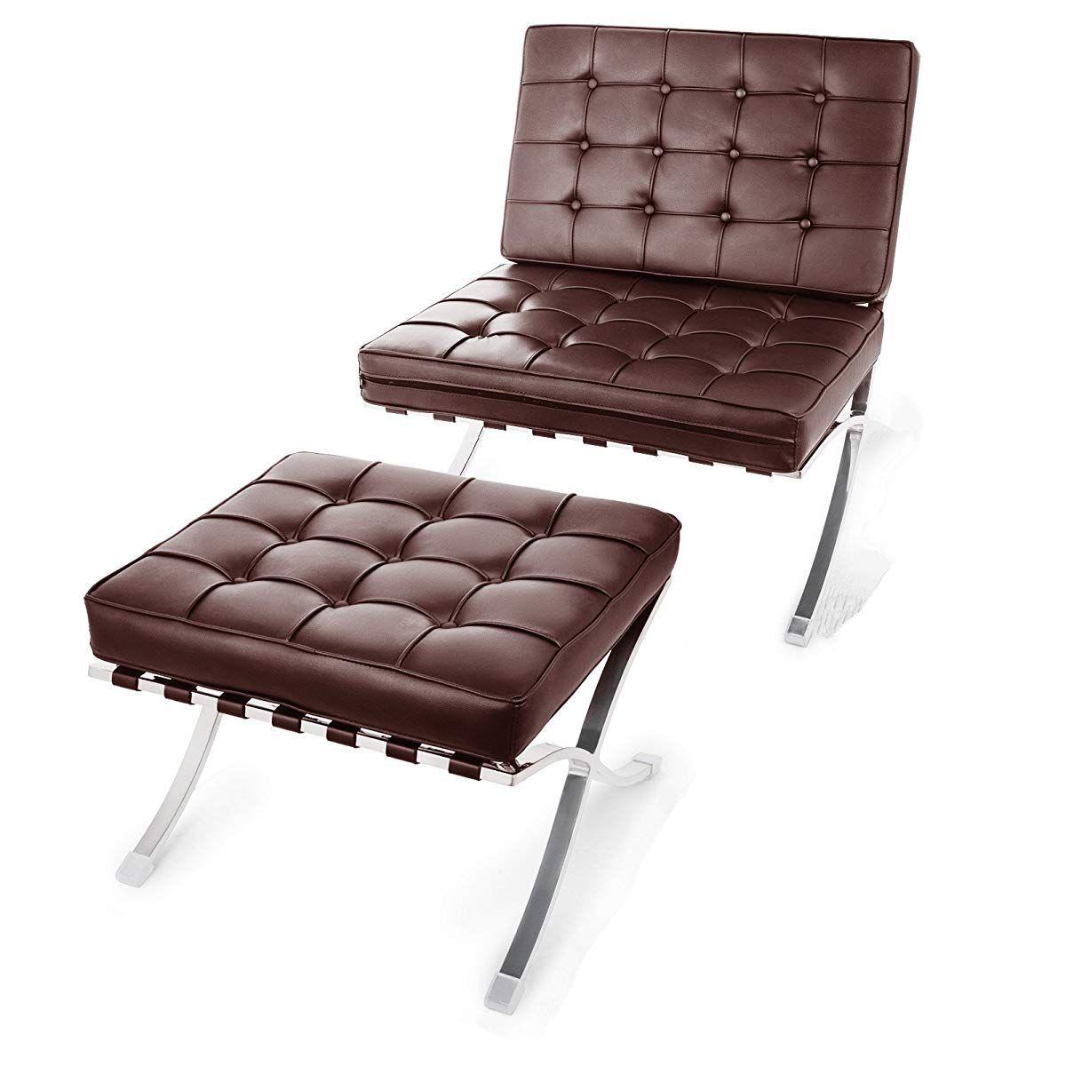 Happybuy Barcelona Style Lounge Chair and Ottoman Set PU