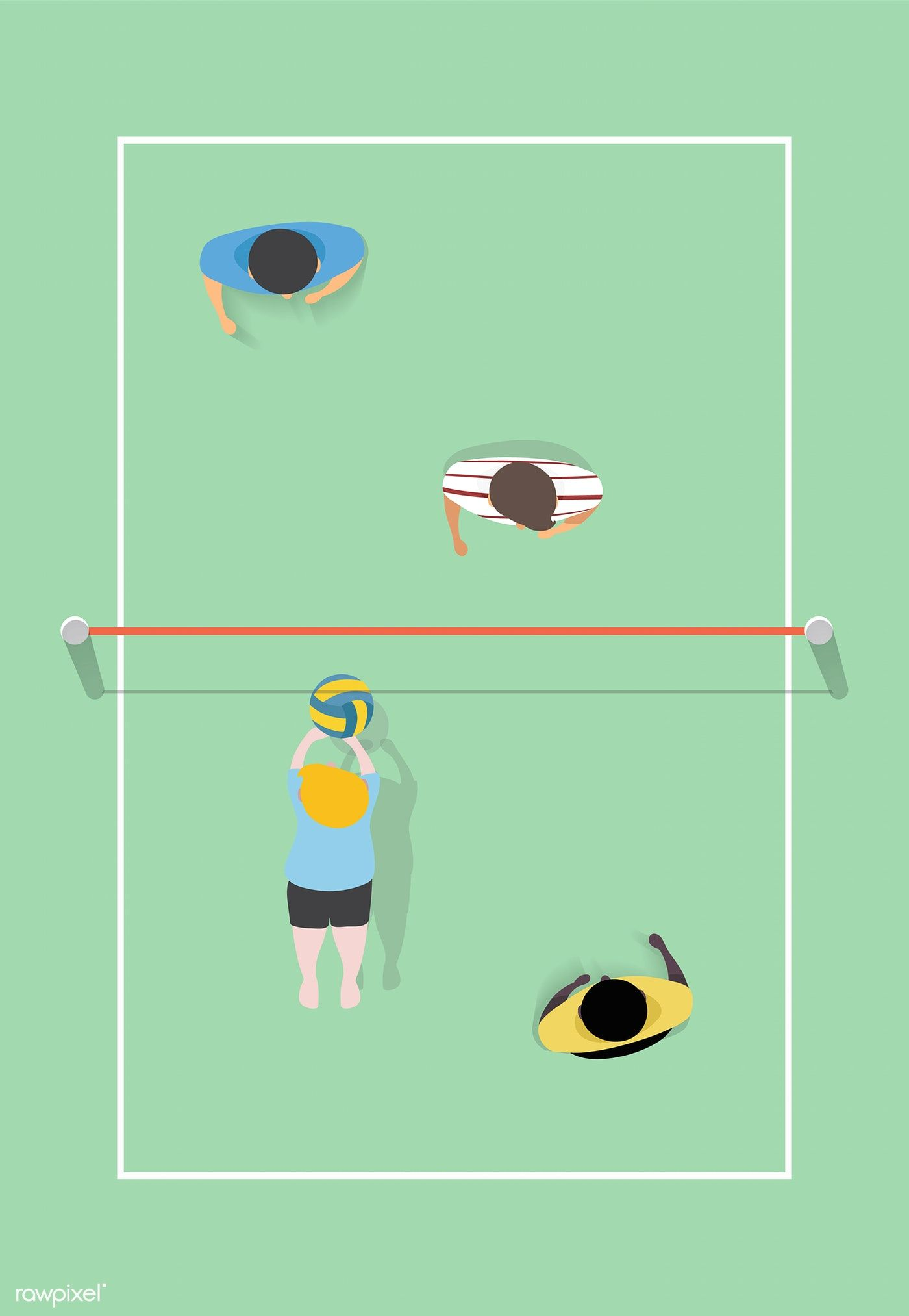 Download Premium Vector Of Vector Of People Playing Volleyball 2977 Free Illustrations Volleyball Vector
