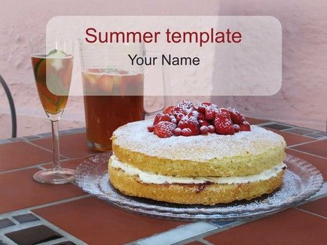 Summer PowerPoint Template- Pimms and Victoria sponge cake You - summer powerpoint template