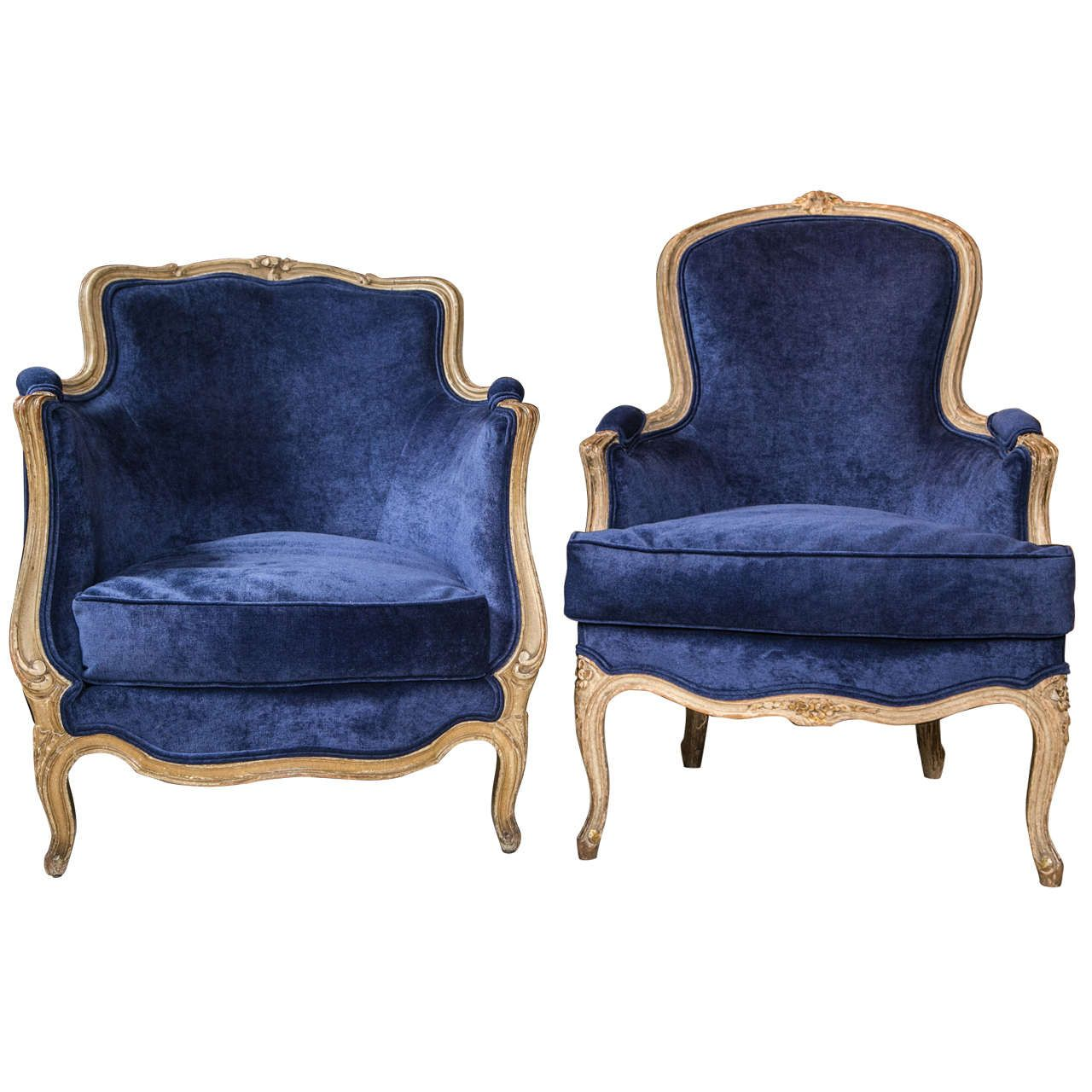 Bergere Chairs For Sale Party Rentals Tables And Pair Of Blue French With Down Filled Cushions
