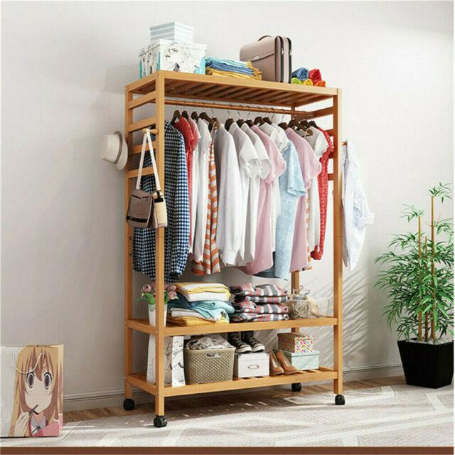 Bamboo Clothes Rack Garment Closet Storage Organizer Hanging Rail Shelf On Wheel In 2020 Wooden Clothes Rack Clothing Rack Clothes Storage Organizer