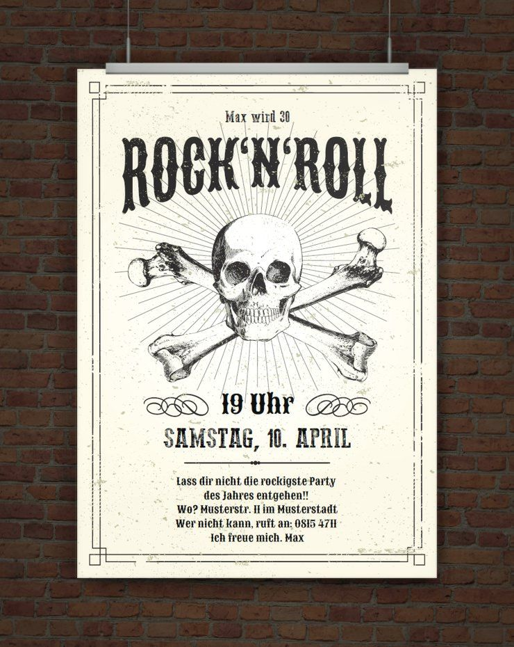Einladung Rock N Roll Karten Basteln Drucken Pinterest