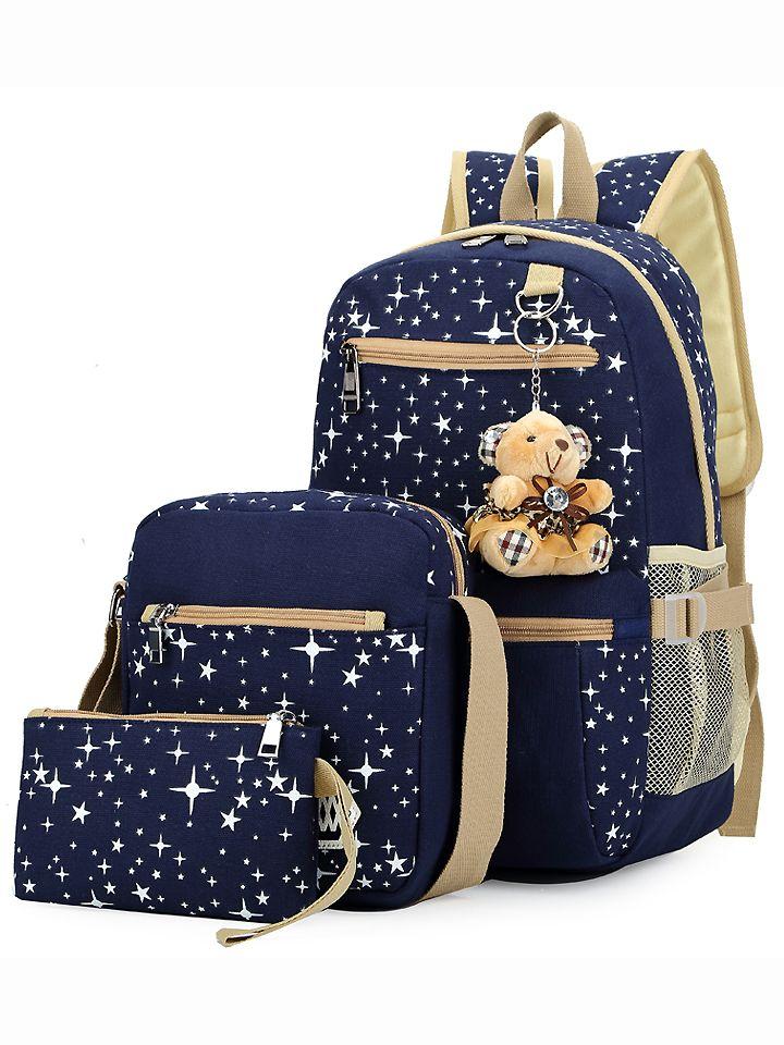 8ada425274b2 Star+Print+3PCS+Canvas+Backpack+Set+-+Blue+25.99