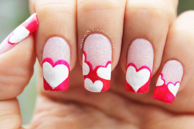 Diseño fácil de uñas decoradas con corazones - http://xn ...